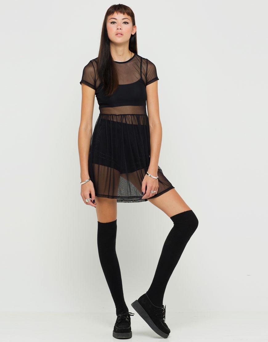 Louski Sheer Babydoll Dress in Black Mesh
