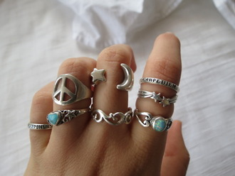 jewels ring star sign hippie peace sign silver moon stone turquoise jewelry opal peace blue silver stars moon turquoise cute hipster hippie chic style fashion indi wave finger srat boho