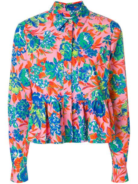 MSGM shirt peplum shirt tropical women cotton print purple pink top