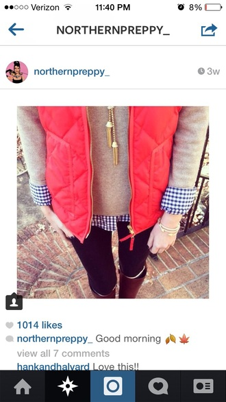 shirt coral preppy vest preppy fall outfits fashion
