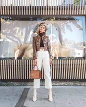 bag,handbag,crocodile,mini bag,white pants,wide-leg pants,cropped pants,sock boots,white boots,cropped jacket,snake print,cropped turtleneck,earrings