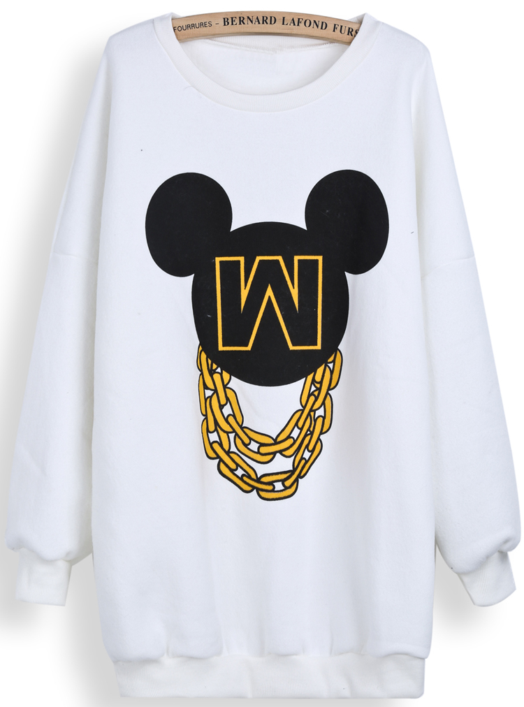 New 2014 Free casual women White Long Sleeve Round Neck Mickey Chain Print Loose Sweatshirt-in Hoodies & Sweatshirts from Apparel & Accessories on Aliexpress.com