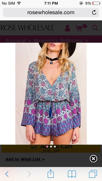 choker necklace hippie paisley purple v neck romper long sleeve romper fall outfits