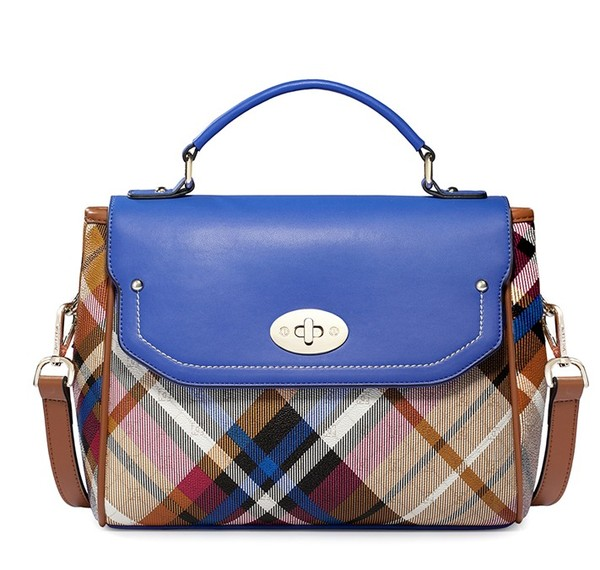 bag vintage plaid women blue handbag