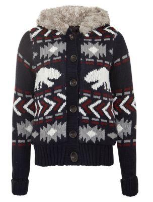 Navy fairisle faux fur hooded cardigan