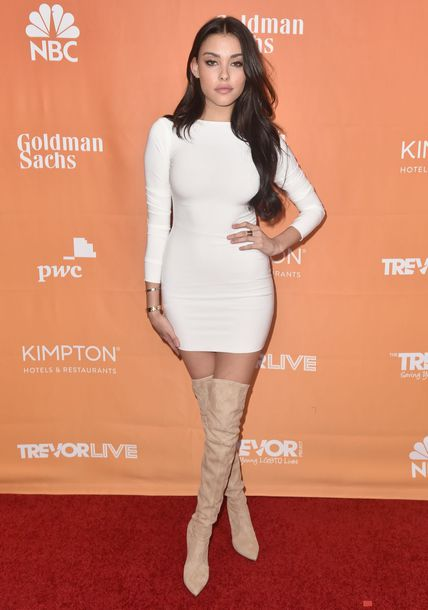 dress bodycon dress boots white white dress madison beer fall dress long sleeve dress over the knee boots