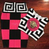 skirt,3am,skirt set,crop top skirt set,medusa,pink,2 piece skirt set,pink checkerboard