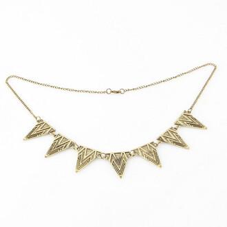 jewels aztec necklace gold tone geometric