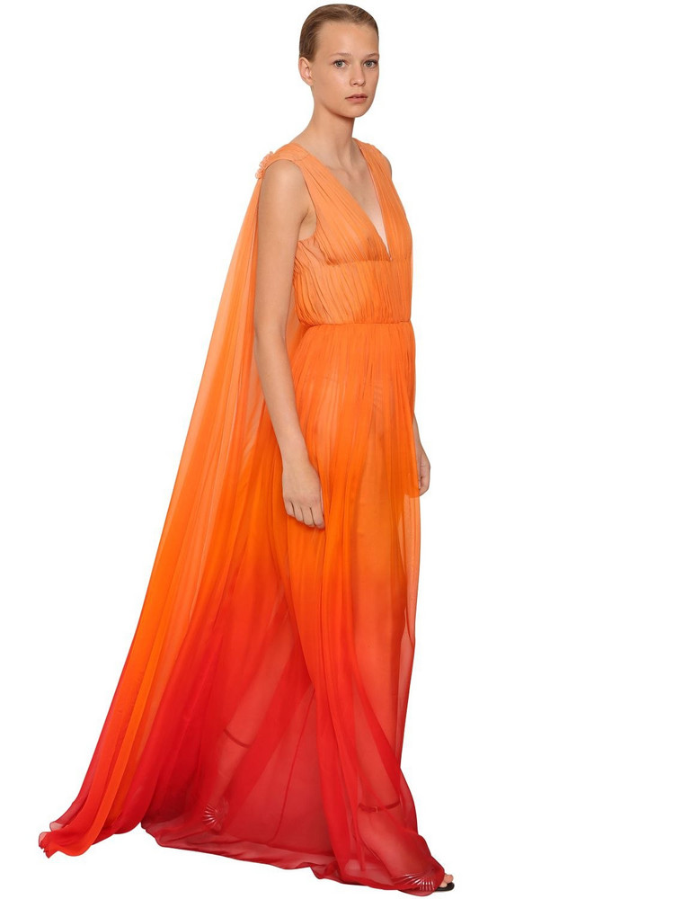 ALBERTA FERRETTI Silk Chiffon Long Dress in orange / red