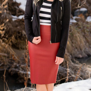 Red Leather Skirt - SexyModest Boutique on Wanelo