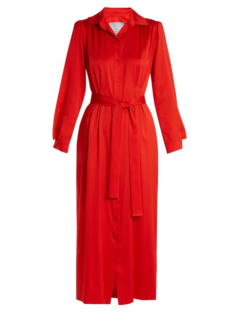 shirtdress silk satin red dress