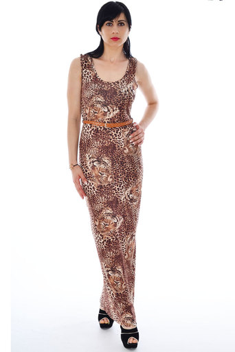 Naoka Leopard Printed Maxi Dress - Pop Couture