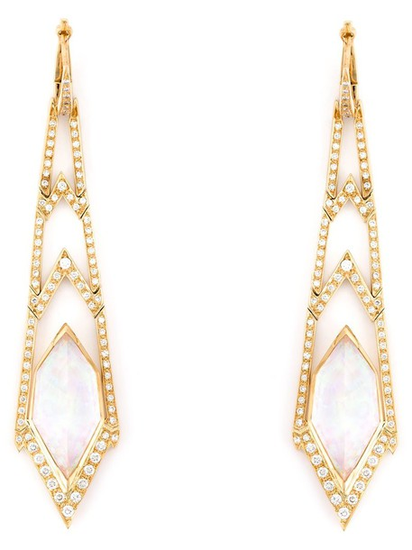 Stephen Webster long women earrings gold grey metallic jewels
