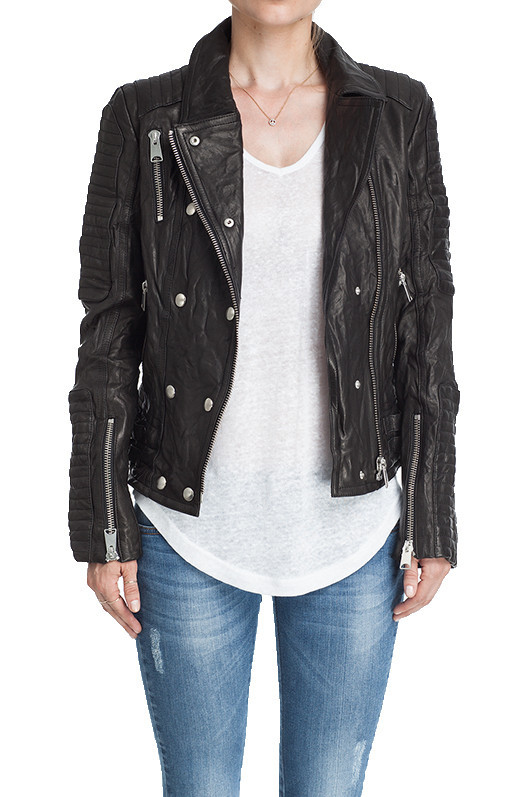 MOTO LEATHER JACKET -    Padded detailing on shoulder, upper and lower arms   Zipper deta...         |       ANINE BING
