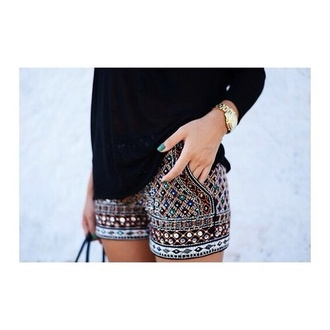 shorts black color/pattern