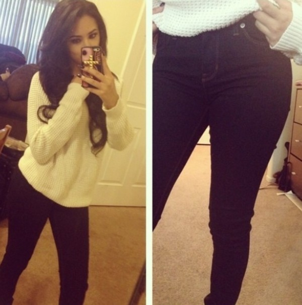 sweater white sweater jasmine villegas Jasmine V instagram tumblr jeans dark jeans high waisted jeans winter sweater winter sweater winter outfits fall outfits fall sweater white sweater clothes cellphone case cute