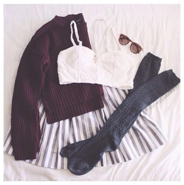 tank top spaghetti strap socks sweater blouse crochet lace crop top burgundy sweater skirt fall outfits underwear skaterskirt stripes style pretty cute outfit outfit idea top