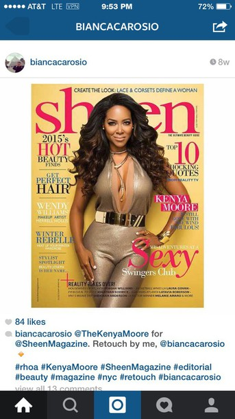 jumpsuit kenya moore gold sheen magazine editorial