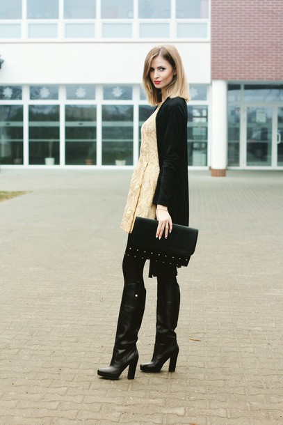 beauty fashion shopping blogger dress black boots jacquard pouch sweater bag shoes jewels