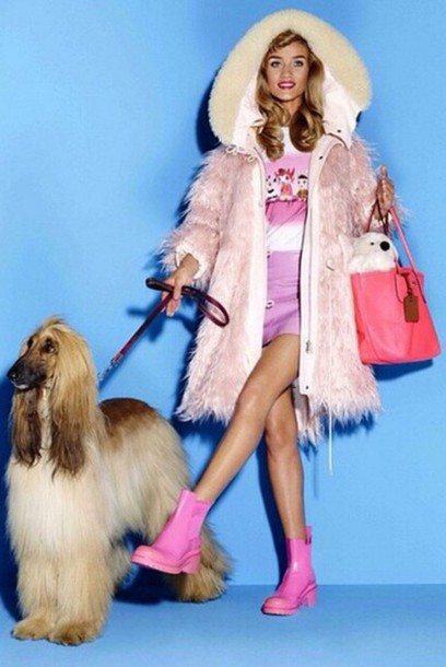 coat skirt fur coat rosie huntington-whiteley pink barbie