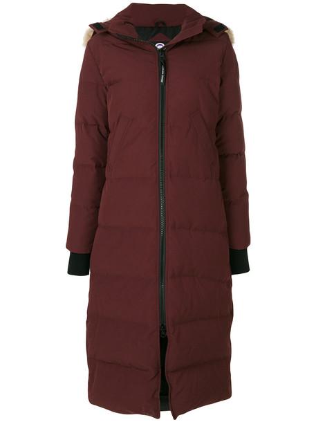 canada goose parka fur fox women cotton red coat