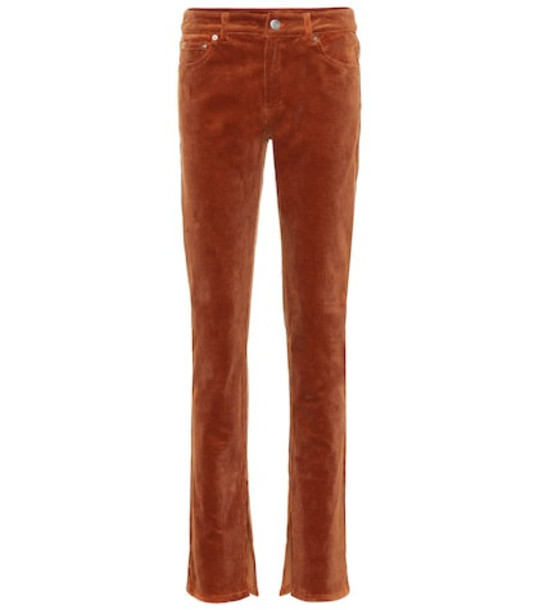 Ganni Stretch corduroy straight pants in brown