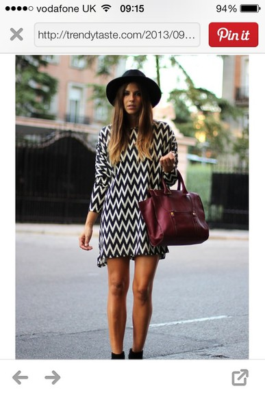 shift dress black white dress zig zag