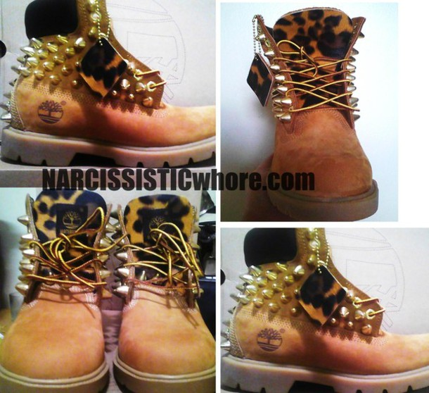 shoes leopard print spikes timberlands edit tags