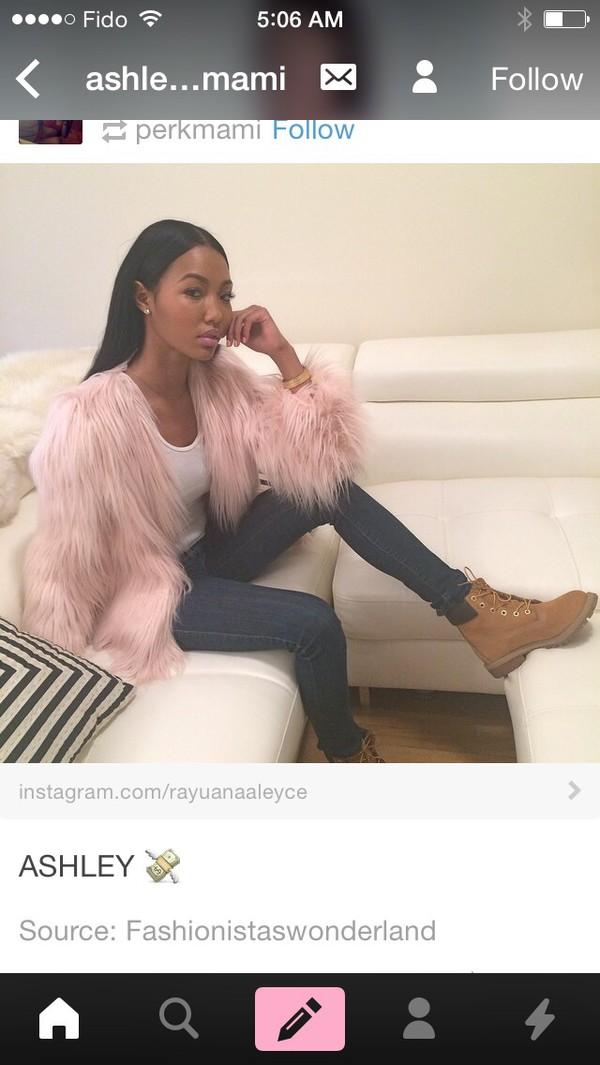 jacket pink fur fluffy fur coat faux fur jacket
