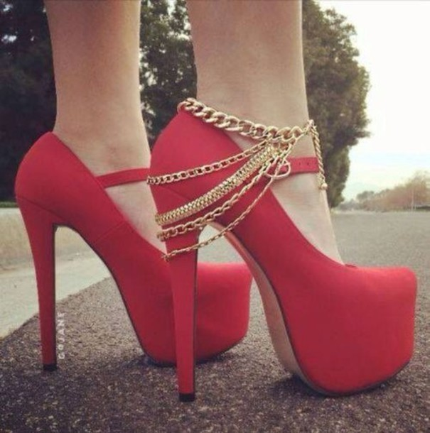 Shoes: jewels, red gold chains platform heels, gold, chain, heels ...