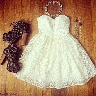 dress lace dress white dress romantic bustier dress white floral short dress corset dress lace top wedding dress shoes blonde hair necklace jeffrey campbell high heels frantic jewelry chain white clothes jewels coctail white skater dress skater dress cute creme bandeau sleeveless dress mini dress