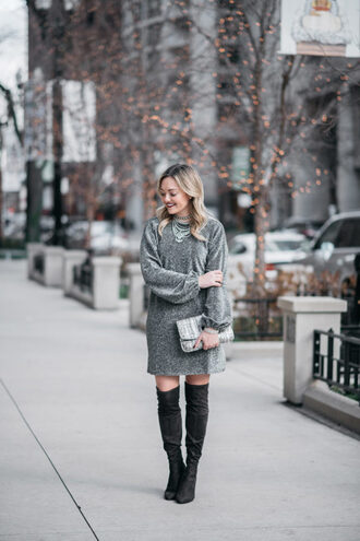 bows&sequins blogger dress shoes bag jewels make-up tights silver dress boots over the knee boots