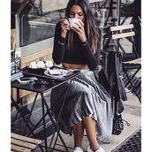 skirt,tumblr,crop tops,black crop top,long sleeves,long sleeve crop top,metallic pleated skirt,pleated skirt,midi skirt,metallic,silver