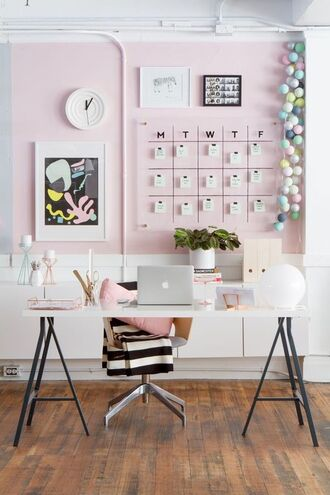 home accessory tumblr home decor home office table apple chair pink ikea diy lamp clock pastel rose gold brass