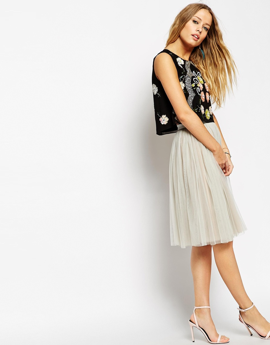 Needle & thread tulle midi skirt at asos.com