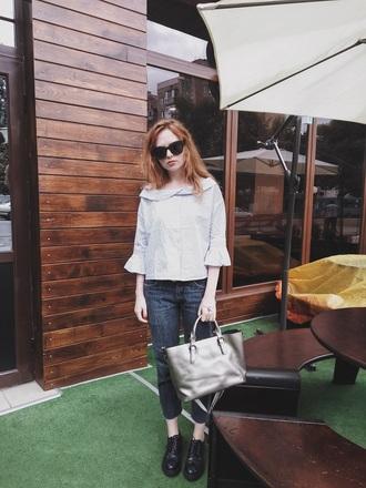kristina magdalina blogger blouse bag jewels jeans sunglasses