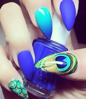 nail polish,blue,royal blue,teal,nails,ombre,matte nail polish,peacock,feathers,essie,stiletto nails