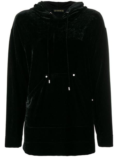 Plein Sud - high shine hooded jumper - women - Polyamide/Spandex/Elastane/Viscose - 36, Black, Polyamide/Spandex/Elastane/Viscose