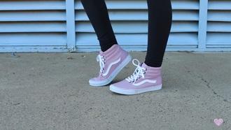 shoes pink vans mel joy youtuber sk8-hi