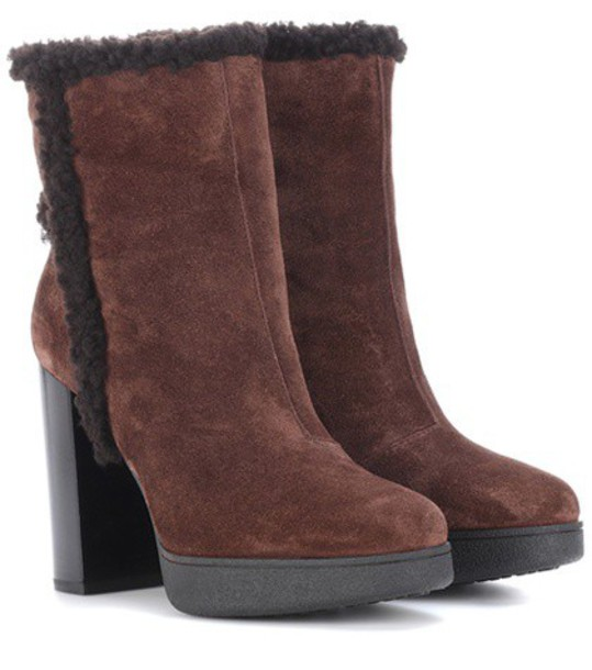 TOD'S suede ankle boots ankle boots suede brown shoes