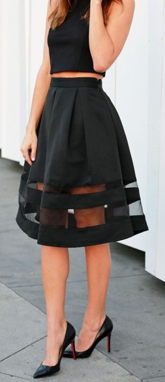 skirt sheer skirt black skirt