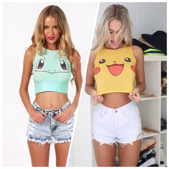 top crop tops fashion pokemon crop tops pokemon pikachu
