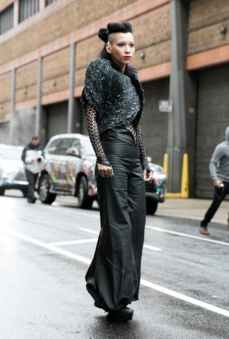 jumpsuit nyfw 2017 fashion week 2017 fashion week streetstyle black jumpsuit wide-leg pants androgynous non-binary mesh