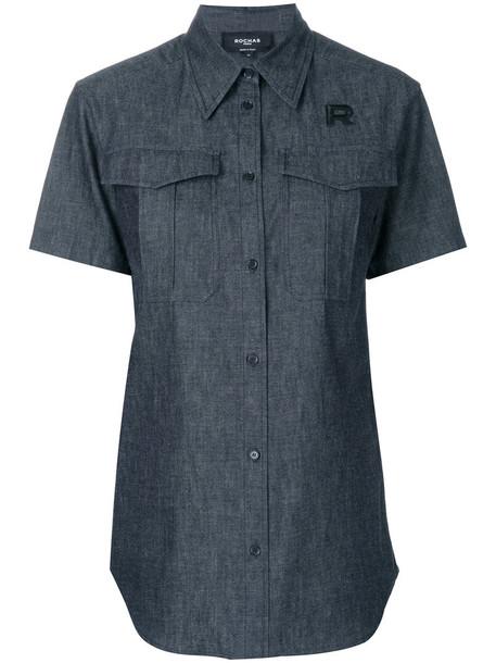 Rochas shirt denim shirt denim short women cotton black top