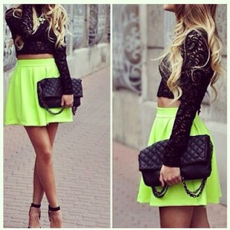 skater skirt neon yellow