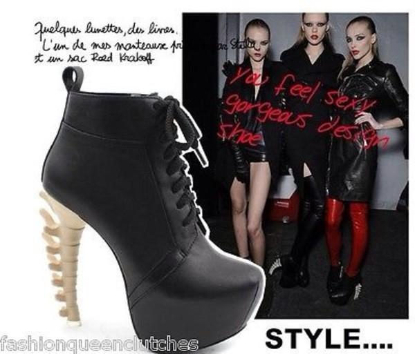 shoes fashion bones heels ankle boots high heel celebrity heels