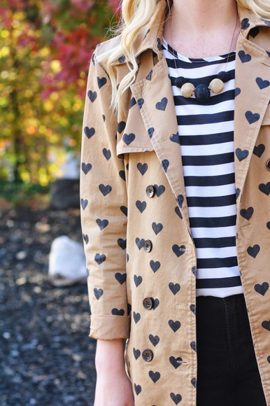 heart striped shirt camel trench coat