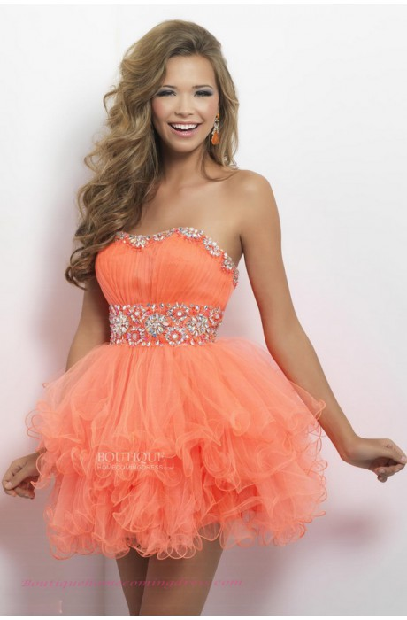 Line tulle lace up homecoming dress with ruffles