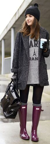 lovely pepa,shoes,coat,t-shirt,bag,hat,paris,wellies,black,shiny,boyfriend coat,hunter boots,charcoal,winter dress,jacket,grey,outerwear,outfit,knitwear,beanie,fall outfits,quote on it,gloves,coffee,boots,rainboots,rain,coldweather,pinterest,sweater,gumboots,winter outfits,winter coat,black coat,paris top,purple,purple gumboots,rolled cuffs