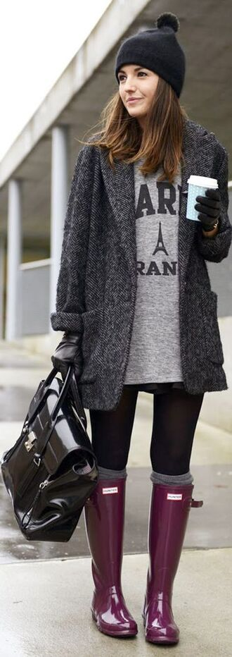 t-shirt bag boyfriend coat hunter boots charcoal winter dress jacket paris coffee boots wellies rain